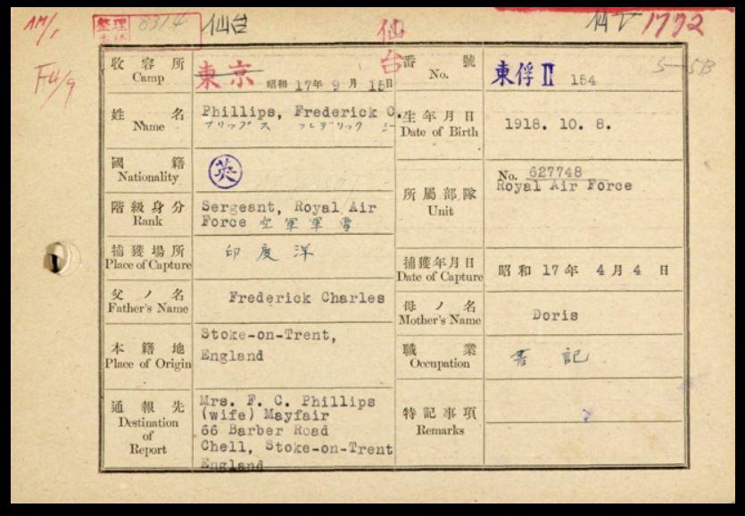 Frederick Cecil Phillips card
